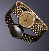 Omega 'De Ville Lady'. Ladies watch, 18 kt. gold with diamond dial, c. 1992