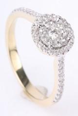 Rosetring med diamanter, 14 kt guld, 0.49 ct