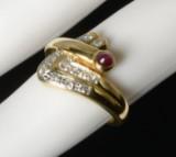 Damering i 18 kt. guld med diamanter og rubin