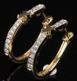 Creoler/ Diamant øreringe, 14 kt guld, 0.30 ct. Et par (2)