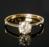 Solitaire brilliant-cut diamond ring, gold, approx. 0.92 ct.