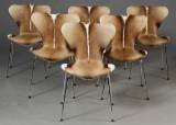 Arne Jacobsen. 7'er spisestole, model 3107, springbock, nybetrukket