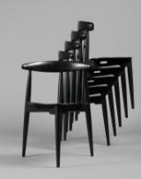 Hans J. Wegner# Par Butterfly stole, model GE 460, stel af bøgetræ, sæde og ryg med sort skind, produceret hos Getama
