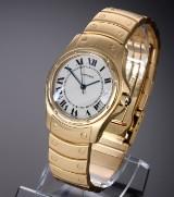 Cartier 'Santos Ronde'. Automatisk herreur i 18 kt. guld med lys skive, 1990'erne