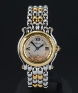 Chopard 'Happy Sport', ladies watch, gold and steel, with diamonds