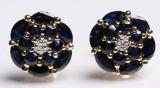 Safir- og diamantørestikkere, et par (2)