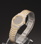 Ebel 'Classic Wave'. Ladies watch, 18 kt. gold and steel with diamonds
