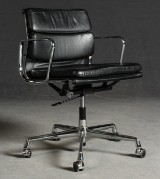 Ray & Charles Eames, Soft Pad EA 217, black leather cover, for Vitra