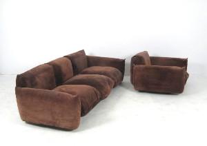 ware 2932251 mario marenco lounge sofa sessel modell marenco in braunem wildleder 2. Black Bedroom Furniture Sets. Home Design Ideas