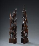 Et par orientalske figurer af træ, 1900-tallet (2)