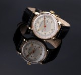 Movado for Tiffany & Co 'Day-date'. Vintage men's watch, 14 kt. gold, c. 1950