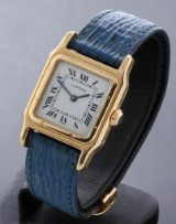 Cartier 'Panthere'. Ladies watch, 18 kt. gold with original strap and clasp