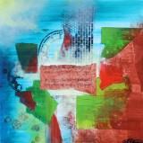 Anthony Crossa. Komposition, olie og mixed-media på lærred