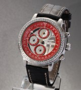 Quinting 'Chronograph Mysterious'. A large unisex watch, steel with diamonds
