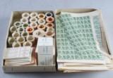 samling frimärken, rullar, ark och automathäften