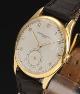 Vacheron Constantin. Vintage men's watch, 18 kt. gold, with separate second hand, 1950s