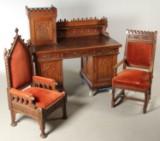 Skrivebord samt to armstole af egetræ, barok stil (3)