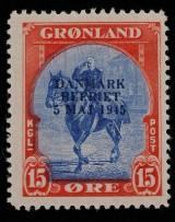 Grønland, afa:21ax småt overtryk, ubrugt/hængslet. Att.:Lasse Nielsen.
