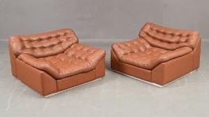 Läderfåtöljer : Auktionstipset två fåtöljer i cognacsbrunt läder