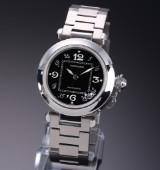 Cartier 'Pasha' midsize ladies' watch, steel, black dial, 2000's