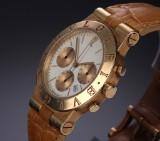 Bvlgari 'Diagono' men's watch, 18 kt. gold, pale dial, 1990's
