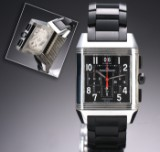 Jaeger-LeCoultre Reverso Squadra Chronograph men's watch, steel, original strap and clasp, 2010's