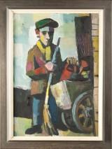 Karl Ortelt, Mann mit Karren, Öl auf Karton