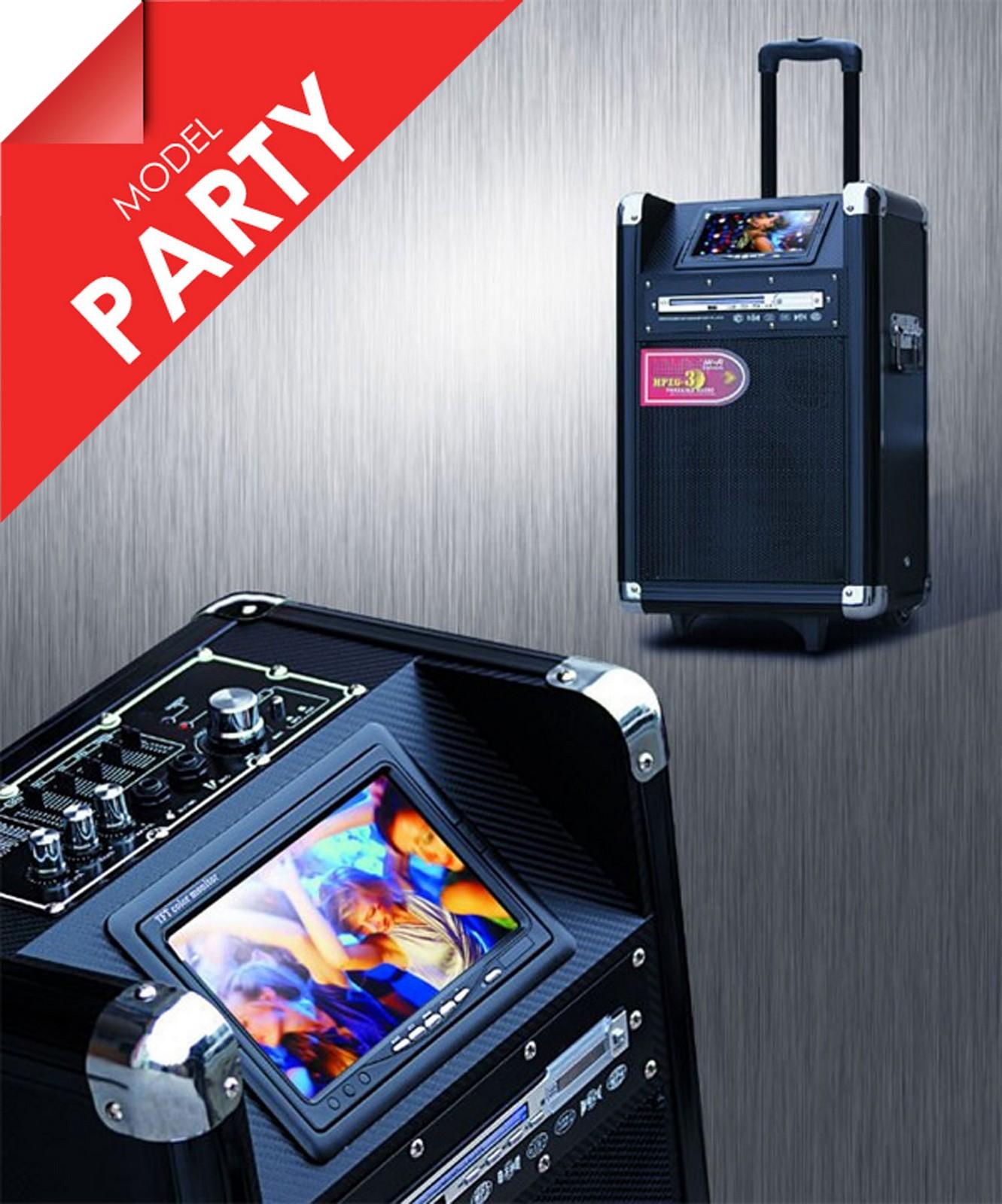 Stor luxus trolley digital højttaler m/ DVD skærm, trådløs mikrofon m.m - Stor luxus trolley digital højttaler m/ DVD skærm, bluetooth og trådløs mikrofon samt mulighed for 2 ekstra mikrofoner og elektrisk guitar med separat volume på hver. Super til sang til festlige lejligheder. Bemærk: Dette er en modellen PARTY....