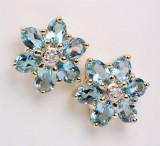 Par topaz- og diamant ørestikkere, guld (2)