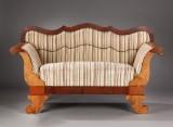 Senempire sofa af fineret mahogni og bøgetræ, ca. 1850