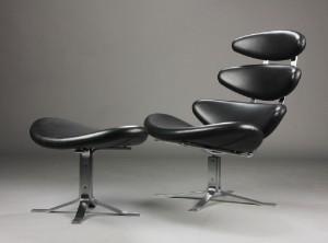 corona stol brugt Poul M. Volther. Corona lænestol samt skammel, sort læder, Erik  corona stol brugt