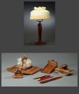 Skrivebordsgarniture af mahogni. Skønvirke-stil (10)