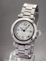 Cartier 'Pasha'. Mid-size watch, steel, with white dial and date