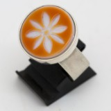 Ring 925 Sterling Silber mit graviertem Lagenachat, Ringgröße 58