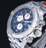 Breitling 'Super Avenger'. Oversize men's watch, steel with dark blue dial