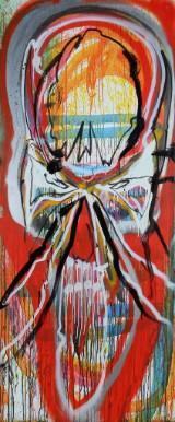 Kristian von Hornsleth. Komposition fra Hornsleth Happening ILVA Ishøj, 2009, akryl på MDF-plade (cd)