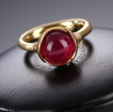 Ole Lynggaard. Lotus ring no. 1, 18 kt. satin-finish red gold,  red tourmaline