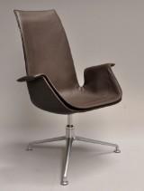 Preben Fabricius & Jørgen Kastholm. Tulip chair, dark-brown leather