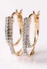 Øreringe, 9 kt rhodineret guld med 0.30 ct (2)