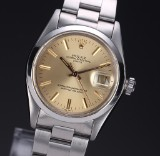 Vintage Rolex 'Date' men's watch, steel, golden dial, c. 1978