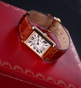 Cartier ' Tank Louis Cartier'. Men's watch, 18 kt. gold, with original strap and clasp, 2000s