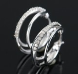 Øreringe, Creoler 9 kt, med 0.25 ct. diamanter