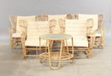 Viggo Boesen, model VB 136 bamboo and cane. Five lounge chairs and table