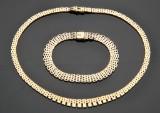 Halskæde og armbånd af guld 14 kt. guld. (2)