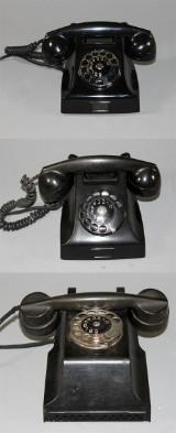 Bordstelefoner, 2 st samt väggtelefon, bakelit, LM Ericsson formgivning Jean Heiberg (3)