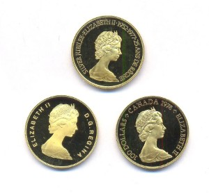 Canada 100 dollar gold coins, 1978, 1979 and 1977 (3) | Lauritz com