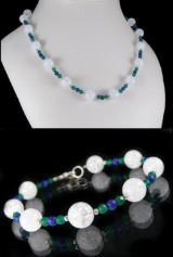 Kette und Armband aus Achat, Bergkristall und Lapis Lazuli, Set ( 2 )