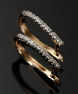 Øreringe, creoler. 9 kt guld, 0.26 ct diamanter