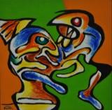 Poul Friis. Abstrakt komposition. Akryl på lærred