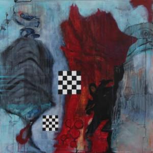 Karen Rasmussen. Chess Mate - Dk, Herning, Engdahlsvej - Karen Rasmussen (f. 1948). 'Chess Mate', akryl på lærred, sign. og dat. KR. 2017. 100 x 100 cm UR. - Dk, Herning, Engdahlsvej